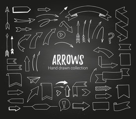 Hand drawn vector illustration - arrows, ribbons and scrolls. Sketch. White design elements on a blackboard background. Perfect for advertising and business presentations, cards, blogs, posters etc.