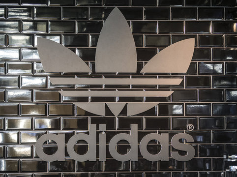 The Adidas logo is pictured in a pop-up store in Berlin