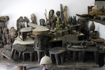 Wood carvings are arranged in the art gallery of Nigerian artist and designer Nike Davies-Okundaye in Lagos' Lekki district