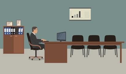Web banner of an office worker. The young man is an employee at work. There is a brown furniture, black chairs, a cabinet for documents, poster with diagram in the picture. Vector flat illustration