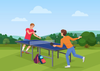 Table tennis pingpong match on the nature. The vector illustration of two friends playing ping pong.