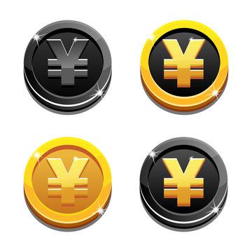 Cartoon set golden and black yen coin yuan symbol, chinese money, vector simbols