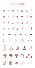 Love and wedding decorative icons.