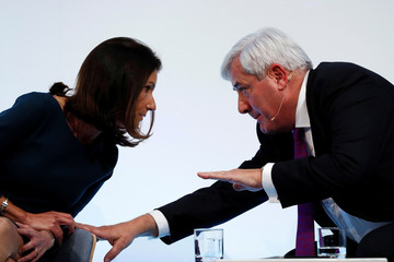 President of the Confederation of British Industry (CBI) Paul Drechsler talks with Carolyn Fairbairn, director-general during the Confederation of British Industry's annual conference in London