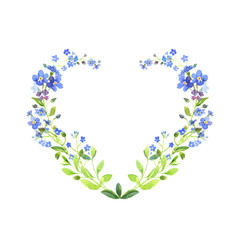 Watercolor heart-shaped. Blue forget-me-nots with green leaves on white background. Can be used as wedding invitations or greeting card, print, your banner or Postcards for Valentine's Day.