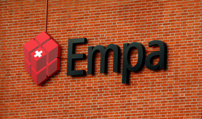 Logo of Empa is seen at a building in Duebendorf