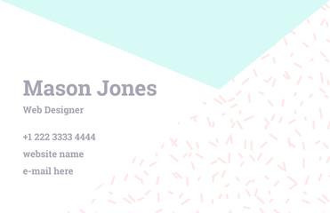 Fashion business card template in the style of Memphis. Perfect combination of pattern and geometric shapes. A pattern of pastel mint triangle and pink dashes. Funky design.
