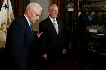 Pence finishes swearing in Mattis to be Secretary of Defense in Washington