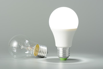 Glowing led lamp and incandescent bulb