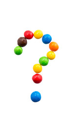 The question mark of candy on a white background