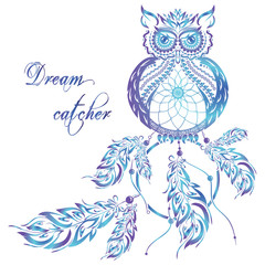 Vector dream catcher owl. Blue background.