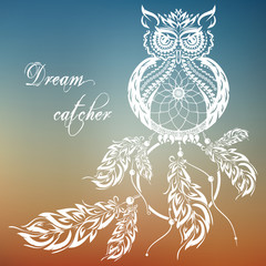 Vector dream catcher owl. Sunset background.