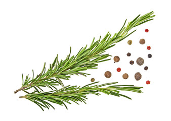 Rosemary and peppercorns isolated on a white background