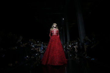 A model presents a creation by Lebanese designer Zuhair Murad as part of his Haute Couture Fall Winter 2015/2016 fashion show in Paris