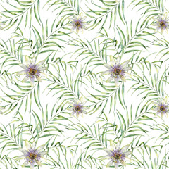 Watercolor pattern with palm tree leaves and passiflora. Hand painted exotic greenery branch and flowers. Botanical illustration. For design, print or background