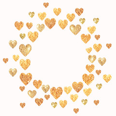 Frame with hearts of golden glitter in vintage colors