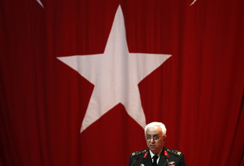 Newly-appointed Turkish Chief of Staff General Kosaner addresses the guests during a handover ceremony in Ankara