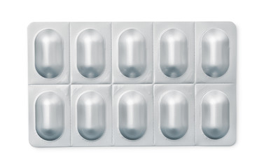 Top view of pills in blister pack