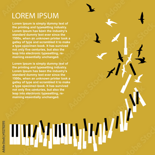 Piano Keys Turn Into Birds Template For Concert Poster Music
