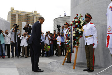 U.S. President Barack Obama attends a wreath-laying ceremony the Jose Marti monument in Havana