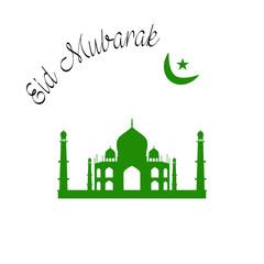Eid Mubarak Vector Illustration with text  for an Islamic Muslim festival