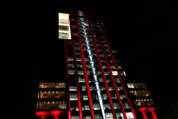 The colours of the Turkish flag are projected on Mexico's Foreign Affairs building in Mexico City