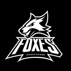 Furious fox sport club vector logo concept isolated on black background. Modern professional team badge mascot design.