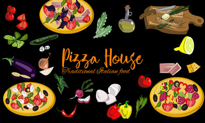 Hand drawn Italian pizza background with dishes and drawn vegetables.