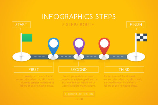 Infographics design with start, and finish goal flags. Infographic shows route steps on the road with differently colored location markers. Graphic design in flat style.
