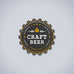 Beer bottle cap shaped badge with CRAFT BEER text and hop sign vector illustration