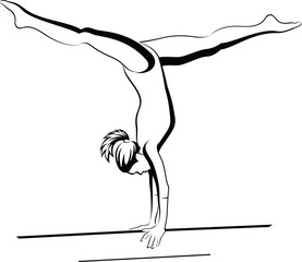 Line vector of a girl gymnast doing a handstand on the balance beam.