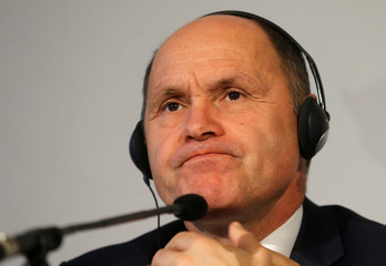 Austria's Interior Minister Sobotka listens during a news conference in Vienna