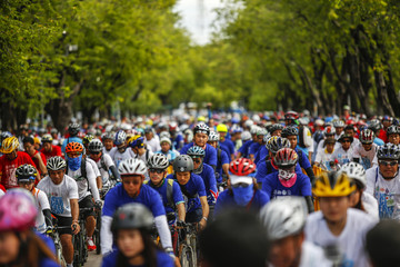 Cyclists ride their bicycles during World Car-Free Day near the Royal Palace in Bangkok