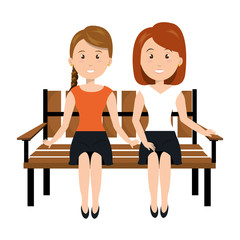Woman sitting on park chair vector illustration design