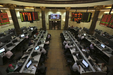 A trader works on the floor of the stock exchange in Cairo