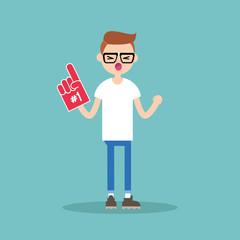 Young teenage nerd fan wearing foam finger / flat editable vector illustration