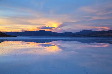 Sunset, post wet season, Salar de Uyuni, Bolivia