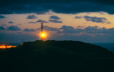 Lighthouse at Cabo da Roca in Portugal at sunset
