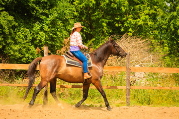 Cowgirl doing horse riding on countryside meadow