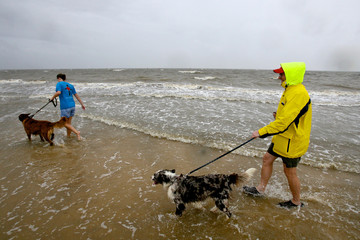 Kristen Stanford walks along the beach with her dogs and her father Brian in Bay St. Louis as Tropical Storm Lee slowly makes landfall