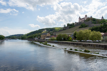 Idyllic view of Festung Marienberg, Würzburg, in South Germany - Stock image