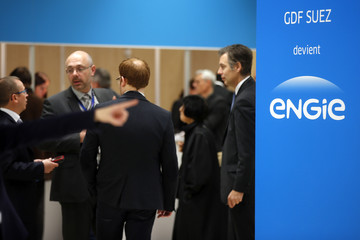 Engie, the new name and logo of French utility GDF Suez, is pictured during the group's shareholders general meeting in Paris