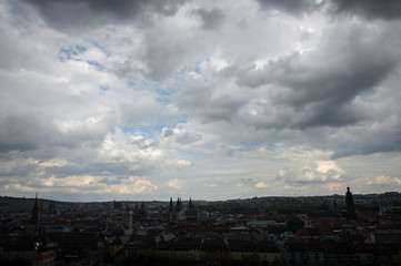 Dramatic clouds, Würzburg, in South Germany - Stock image
