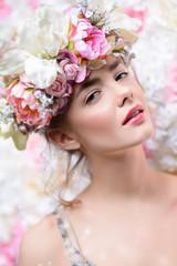 tender girl in flowers