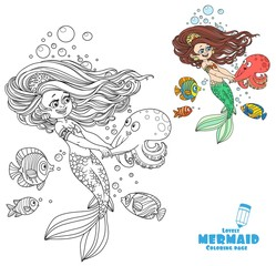 Beautiful little mermaid girl dancing with an octopus coloring page on white background