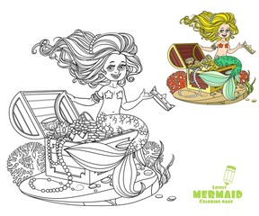 Beautiful little mermaid girl is sitting on a treasure chest and keep the crown on the hand coloring page on white background