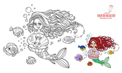 Beautiful mermaid girl holding a pearl in a shell coloring page on white background