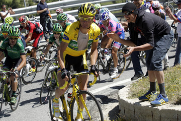Europcar rider Voeckler of France climbs during the 17th stage of the Tour de France 2011 cycling race