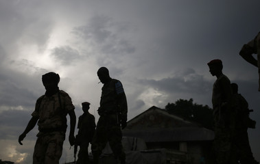 Seleka fighters are silhouetted as they patrol in the town of Lioto