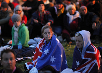 Visitors from Australia and New Zealand attend a dawn ceremony to mark the 95th anniversary of the World War I campaign of Gallipoli at Anzac Cove